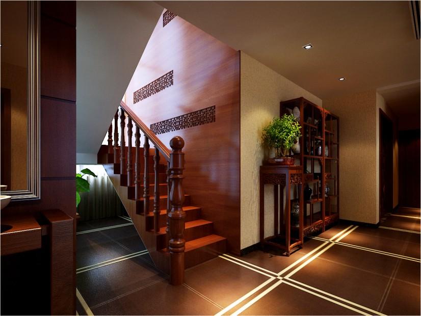 峰光无限装 中式装修 西安装修公 装修公司 楼梯图片来自陕西峰光无限装饰在富力城176㎡新中式的分享