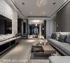 以玻璃媒材取代实墙隔间,让光线和视线得以延伸,生活场域紧密相依串联一气,形成一条横向轴线放大空间感。