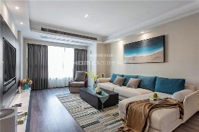 简约 现代 港式 收纳 四居 客厅图片来自四川欢乐佳园装饰在【设•界】他和她的蓝色现代生活的分享