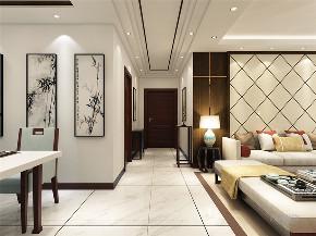新中式 中式 二居 收纳 小资 玄关图片来自阳光放扉er在力天装饰-奥莱城-109㎡-新中式的分享