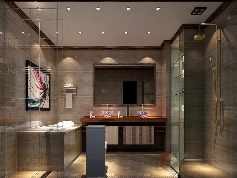 中式 别墅 大户型 跃层 复式 舒适 卫生间图片来自高度国际姚吉智在龙山新新小镇800㎡新中式大宅的分享