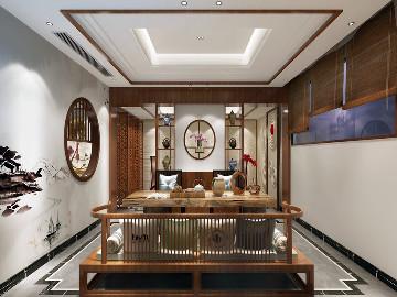 挑空别墅项目装修中式风格设计