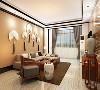 客餐厅采用石膏板吊顶,给人一种层次感,显得空间宽阔,通过吊顶划分区域;整个客餐厅选用中式。给人一种历史文化感。