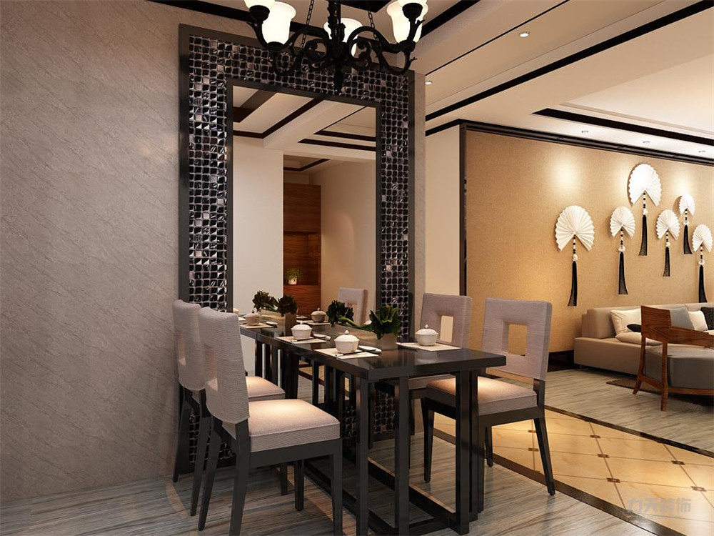 三居 收纳 简约 餐厅图片来自阳光放扉er在力天装饰-港利新城-90㎡-新中式的分享