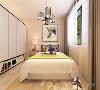 卧室打造的是简约风,床头背景墙采用的是挂画装饰,整个空间多采用简洁明朗的线条,在家具的采用白色系列,在灯具的采用上是金属感强的吊灯,窗帘运用的是白色和灰色的窗帘,使整个空间更加和谐。