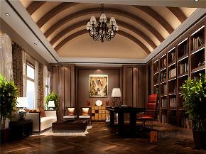 中式 别墅 跃层 大户型 复式 高帅富 80后 书房图片来自高度国际姚吉智在观塘1000㎡轻奢中式别墅宅院的分享