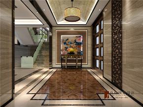 中式 别墅 跃层 大户型 复式 高帅富 80后 玄关图片来自高度国际姚吉智在观塘1000㎡轻奢中式别墅宅院的分享
