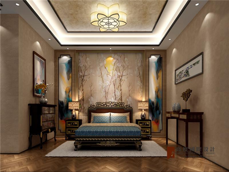 中式 别墅 跃层 大户型 复式 高帅富 80后 卧室图片来自高度国际姚吉智在观塘1000㎡轻奢中式别墅宅院的分享
