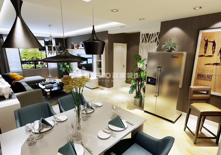 三居 外滩三号 现代风格 餐厅图片来自百家设计小刘在外滩三号120平现代风格半包4.5万的分享