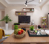 客餐厅整体都是以浅奶茶色为主,客厅是一个回字形吊顶,里面圈一圈石膏板,电视柜和茶几以及电视上方的隔板都是木色,整体颜色都是以浅色为主,使屋子里看起来非常通透亮堂。