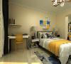 主卧是一间主人房,通过暖色调的营造一种浪漫和温情的氛围,挂壁隔板背景墙美观富有内涵,运用的彩色都是用在易更换的地方,可以更好 的使一个空间多变化。