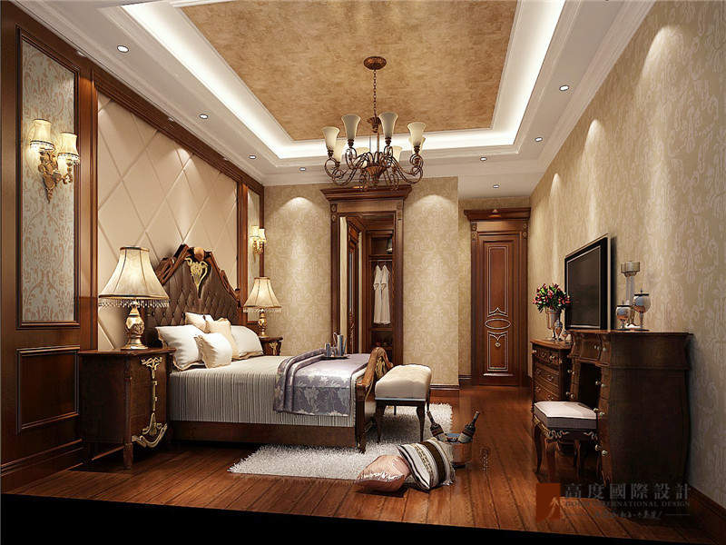 美式 复式 跃层 别墅 大户型 四居 小资 卧室图片来自高度国际姚吉智在V7西园200㎡美式优雅迷人情调的分享