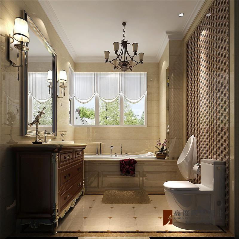 美式 复式 跃层 别墅 大户型 四居 小资 卫生间图片来自高度国际姚吉智在V7西园200㎡美式优雅迷人情调的分享