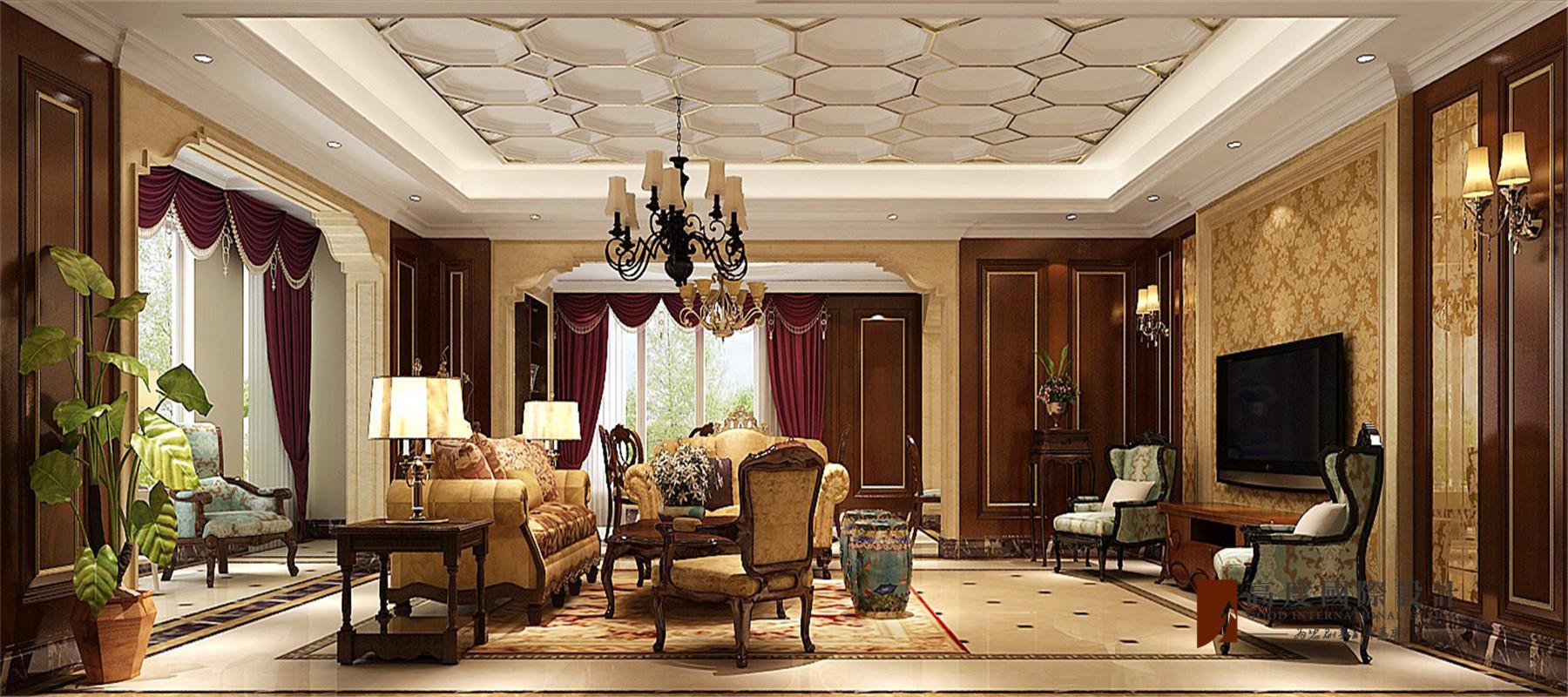 美式 复式 跃层 别墅 大户型 四居 小资 客厅图片来自高度国际姚吉智在V7西园200㎡美式优雅迷人情调的分享