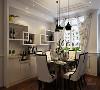 餐厅采用了六人桌椅,还有一个很有设计感的酒柜,餐厅的吊顶为叠加的样式,使空间更有层次感,因家具和酒柜从颜色到样式都很死板,所以采用了一个很有特色的窗帘,使空间有了活力。