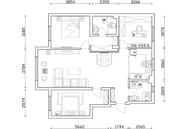 三居 美式乡村 其仕盛和祥 户型图图片来自百家设计小刘在医大家属楼160平中式风格半包6万的分享