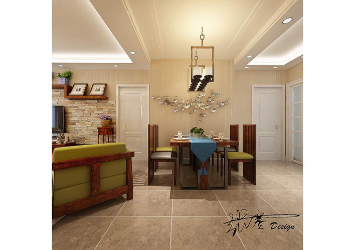 三居 美式乡村 其仕盛和祥 餐厅图片来自百家设计小刘在医大家属楼160平中式风格半包6万的分享
