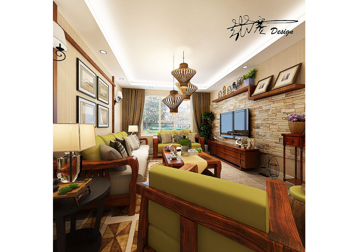 三居 美式乡村 其仕盛和祥 客厅图片来自百家设计小刘在医大家属楼160平中式风格半包6万的分享