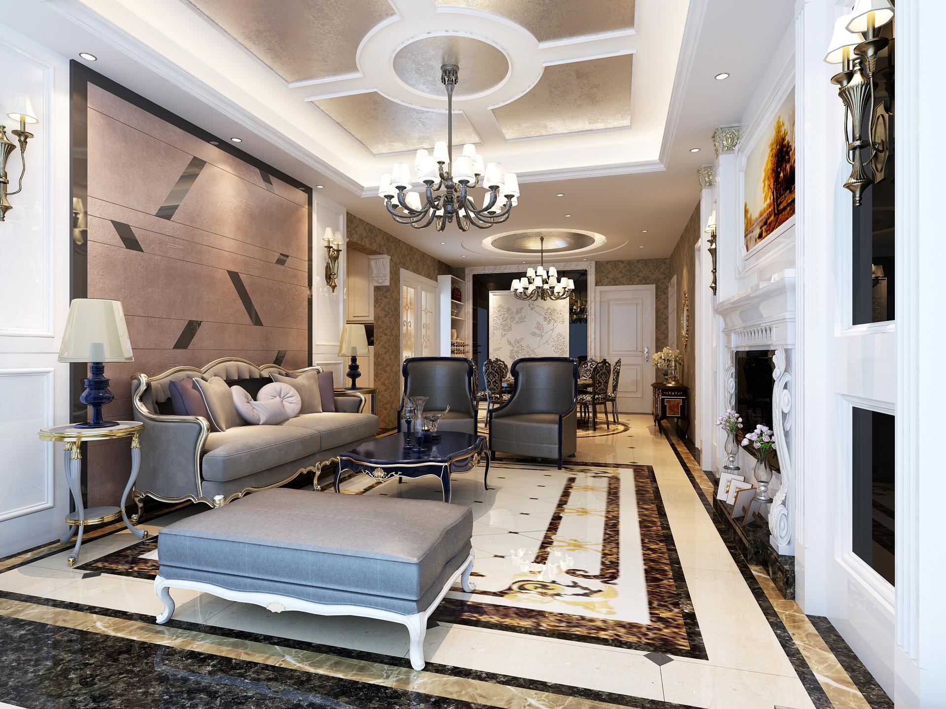 三居 新古典 峰光无限 客厅图片来自西安峰光无限装饰在高科绿水东城三室130平新古典的分享