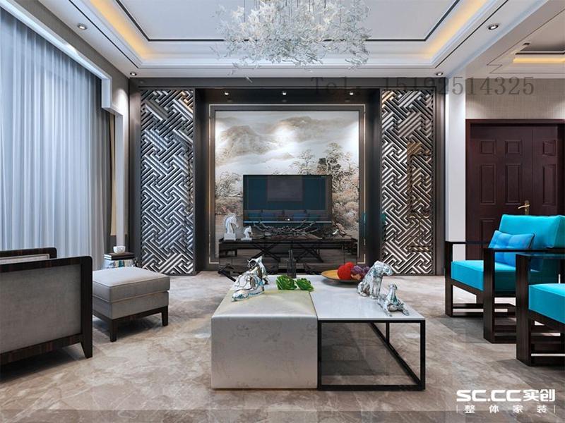 新中式 明德小镇 小资 别墅 客厅图片来自快乐彩在明德小镇联排别墅东户192平的分享