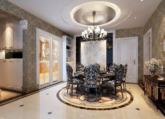 三居 新古典 峰光无限 餐厅图片来自西安峰光无限装饰在高科绿水东城三室130平新古典的分享