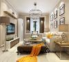 客餐厅墙面主要以温暖的浅咖色乳胶漆为主,电视背景墙以花线圈边,沙发背景则采用简约得挂画,家具采用现代风格,白色沙发搭配深咖茶几,角几,落地灯以及窗帘,使整个空间更加温馨。