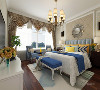 卧室选材上也多选取舒适、柔性的软装,没有过多的装饰,地面复合木地板通铺。顶面选用石膏线圈边,既不会显得房高低,给人压抑的感觉,有起到了装饰的作用。卧室总体的感觉偏向温馨,大气的感觉。
