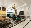 客厅无论是在造型上还是在软装配饰上都比较着重,所以造型上大部分运用石膏线装饰,以及电视背景墙的石材加镜面的造型,无一不显得整个空间简约大方。