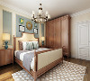 卧室里面,衣柜、床头和床头柜等,都是用了统一的木色,其他的配色主要是米色和蓝色,与客厅的颜色相互搭配。整体显得十分整洁。