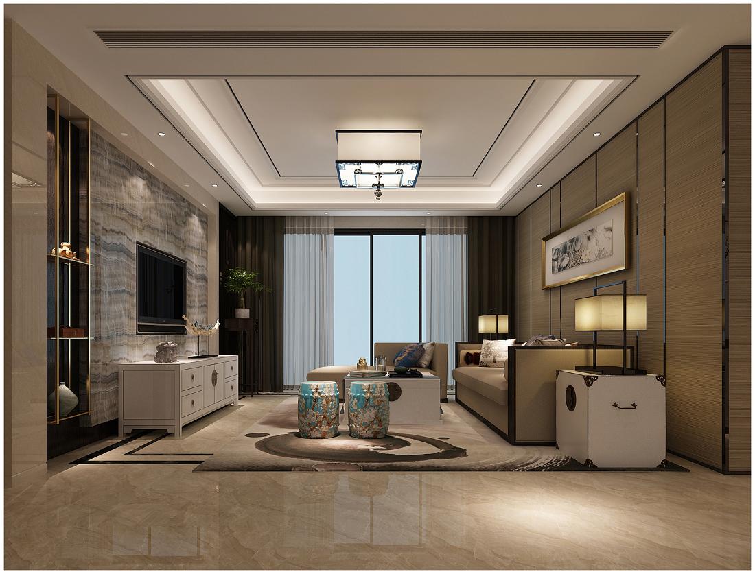 中式 客厅图片来自阿布的小茅屋15034052435在公园伍号230平米--新中式的分享