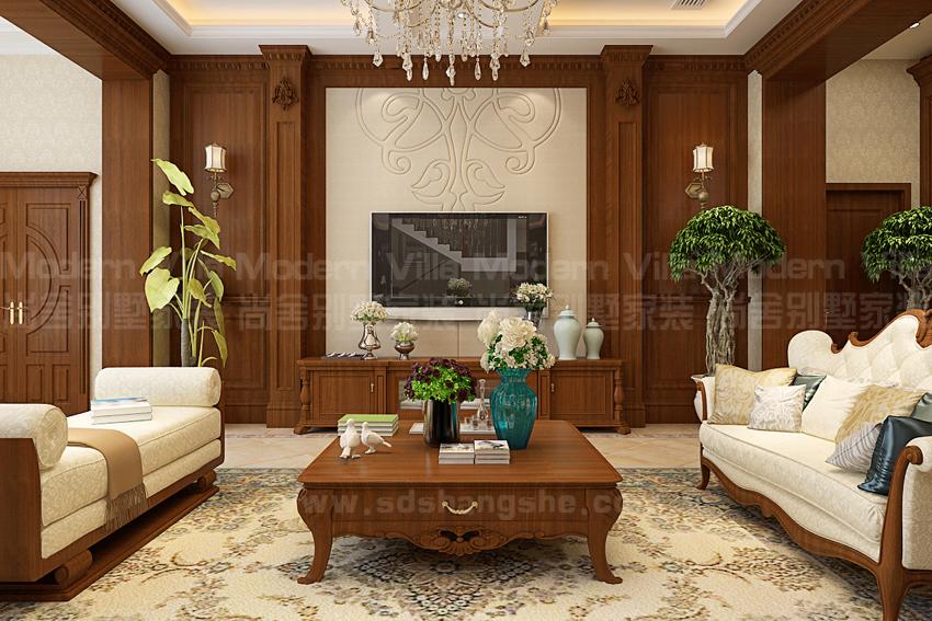 别墅 白领 收纳 小资 客厅图片来自山东济南尚舍别墅装饰在山东济南华润仰山美式的分享