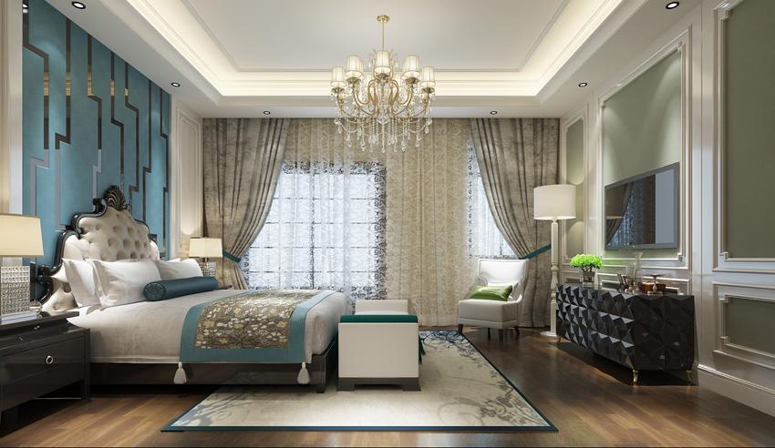别墅 小资 卧室图片来自山东济南尚舍别墅装饰在原山九号别墅美式的分享