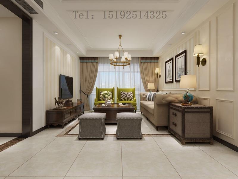 三居 实创 琴海湾 美式 客厅图片来自快乐彩在琴海湾118平简美三居室装修的分享