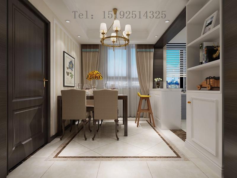 三居 实创 琴海湾 美式 餐厅图片来自快乐彩在琴海湾118平简美三居室装修的分享