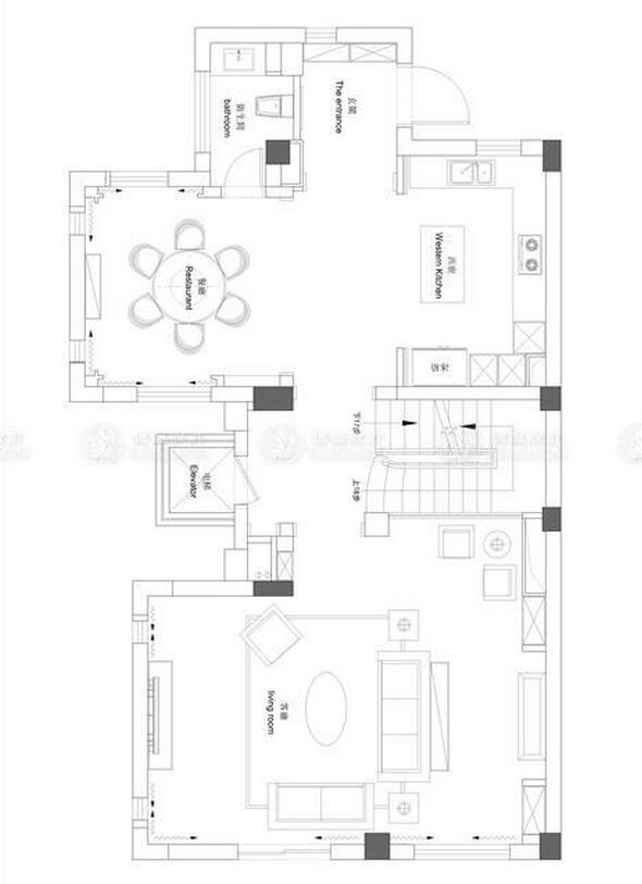 琥珀臻园 别墅装修 美式现代 腾龙设计 户型图图片来自腾龙设计师朱炯在宝山琥珀臻园别墅项目装修设计的分享