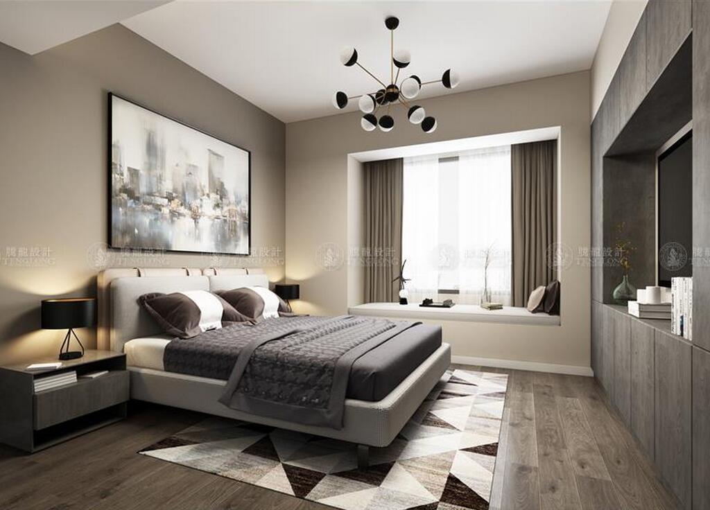 保利茉莉公 别墅装修 现代风格 腾龙设计 卧室图片来自腾龙设计师朱炯在保利茉莉公馆300平别墅装修设计的分享