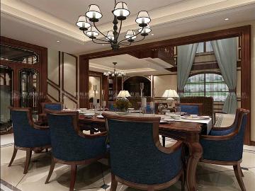 正荣国领别墅项目装修美式设计