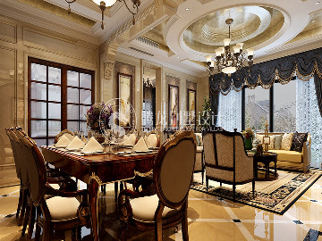 华贸东滩300平别墅欧式古典设计