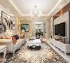 客厅的电视背景墙采用的一个镜面加雕花的造型,沙发背景墙同样采用的是镜面加现代的挂画