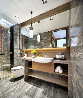 简约 中式 四居 收纳 80后 家居 装修 设计 高端 卫生间图片来自生活家-月昂在保利125㎡新中式风格案例鉴赏的分享