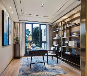 简约 中式 四居 收纳 80后 家居 装修 设计 高端 书房图片来自生活家-月昂在保利125㎡新中式风格案例鉴赏的分享