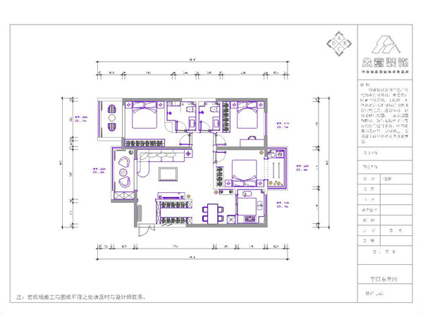 简约 美式 简美 三居 白领 小资 户型图图片来自众意装饰 李潇在天浩上元郡简美风格案例的分享