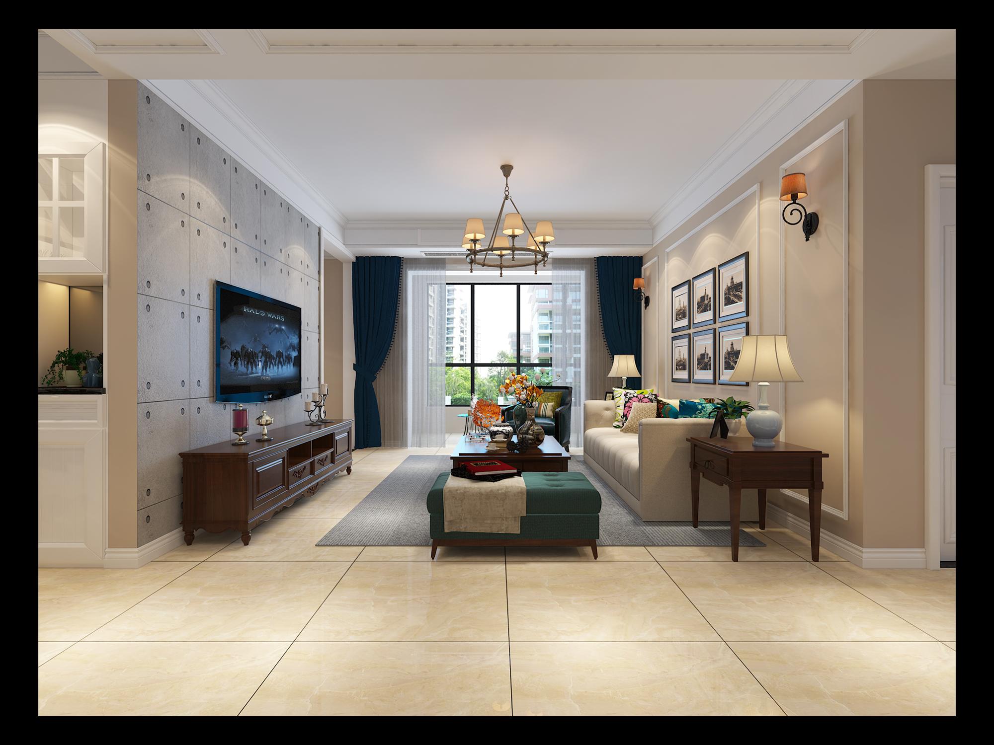 简约 美式 简美 三居 白领 小资 客厅图片来自众意装饰 李潇在天浩上元郡简美风格案例的分享