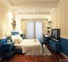 卧室多采用蓝色和白色,很好的与客厅做出了呼应,统一了风格,家具简单时尚色彩明快,自然,壁纸采用简单的条纹装饰了空间的色彩,突出了地中海明快,明亮自然的特点。