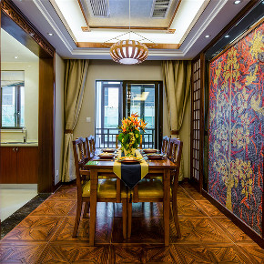 新古典 三居 大户型 收纳 80后 小资 东南亚 餐厅图片来自高度国际姚吉智在143平米东南亚风格迷人异域美感的分享