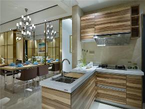 现代 三居 大户型 复式 跃层 白领 80后 小资 厨房图片来自高度国际姚吉智在150平米后现代风质感生活的诠释的分享