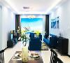 客厅以蓝色为主色调,宽大的落地窗最大限度地引入了自然光,使室内更加通透明亮。