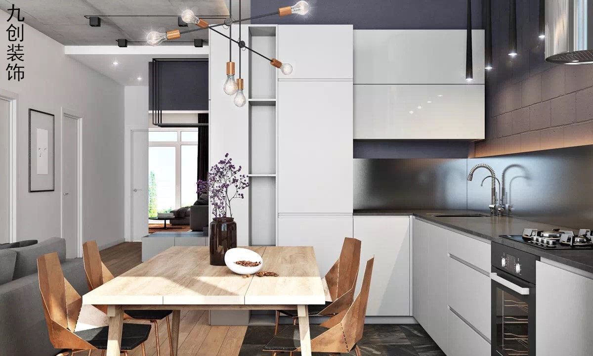 简约 现代都市 黑灰 宽敞 厨房图片来自九创装饰集团成都分公司在人居东御佲家 137 黑灰简约的分享