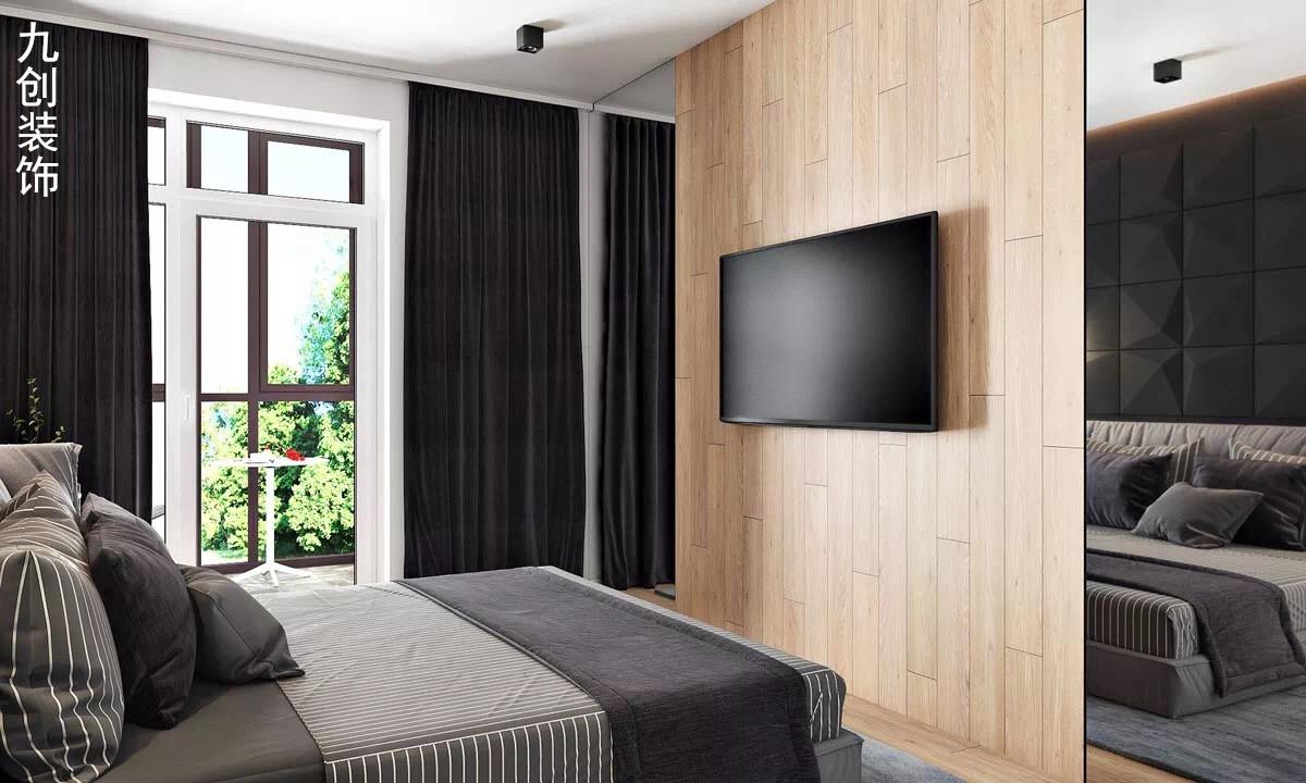 简约 现代都市 黑灰 宽敞 卧室图片来自九创装饰集团成都分公司在人居东御佲家 137 黑灰简约的分享