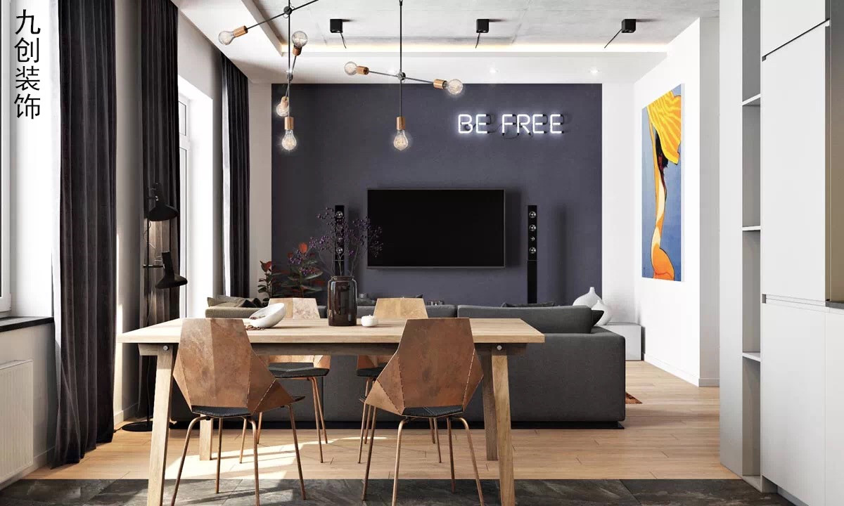 简约 现代都市 黑灰 宽敞 餐厅图片来自九创装饰集团成都分公司在人居东御佲家 137 黑灰简约的分享
